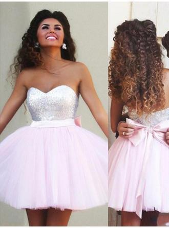 Chic Tulle Homecoming Dresses A-Line/Princess Short/Mini Sweetheart Sleeveless