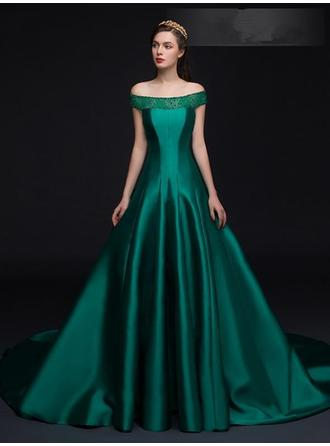 A-Line/Princess Off-the-Shoulder Chapel Train Evening Dress With Beading Bow(s)