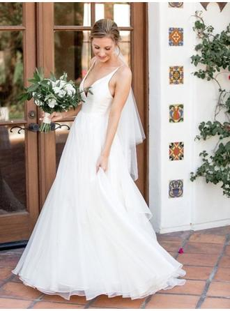 V-neck A-Line/Princess Wedding Dresses Tulle Sleeveless Sweep Train