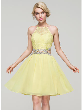 Chiffon Spaghetti Straps A-Line/Princess Scoop Neck Homecoming Dresses