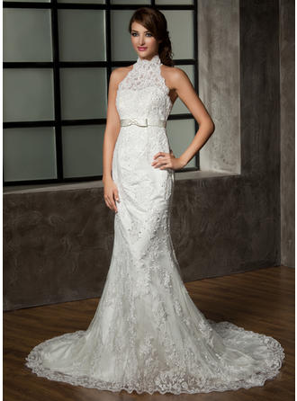 Bow(s) Sleeveless Halter Tulle Lace Trumpet/Mermaid Wedding Dresses