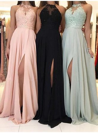 Chiffon Sleeveless A-Line/Princess Prom Dresses Halter Lace Beading Sweep Train