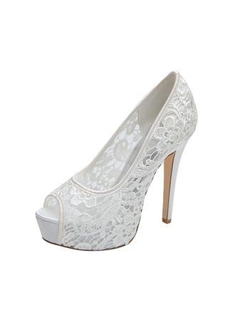 Femmes À bout ouvert Plateforme Escarpins Sandales Talon stiletto Dentelle Chaussures de mariage