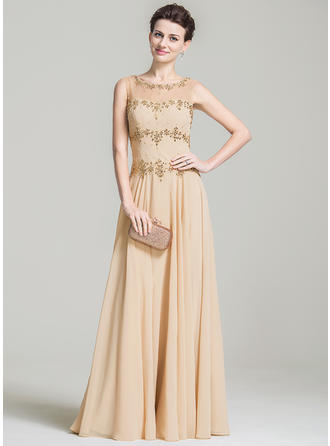 A-Line/Princess Scoop Neck Chiffon Sleeveless Floor-Length Beading Sequins Mother of the Bride Dresses