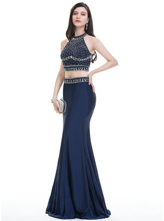 Jersey Beading Sequins Scoop Neck Sleeveless Prom Dresses