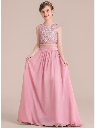 A-Line/Princess Floor-length Flower Girl Dress - Chiffon/Satin/Lace Sleeveless Scoop Neck