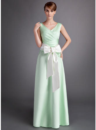 A-Line/Princess Satin Bridesmaid Dresses Ruffle Sash Bow(s) V-neck Sleeveless Floor-Length