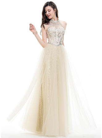 Sleeveless A-Line/Princess Prom Dresses Halter Beading Sequins Floor-Length