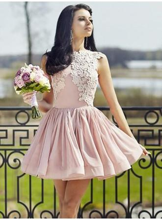 Appliques A-Line/Princess Short/Mini Chiffon Homecoming Dresses