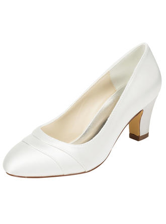 Women's Closed Toe Chunky Heel Satin With Others Wedding Shoes