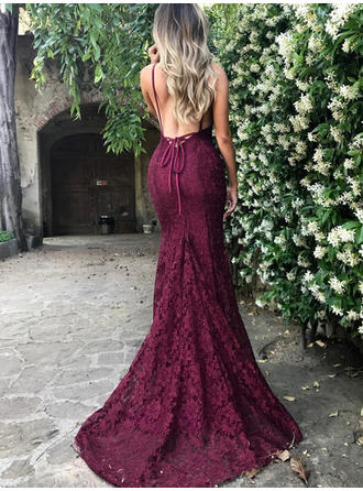 Trumpet/Mermaid V-neck Court Train Lace Prom Dress