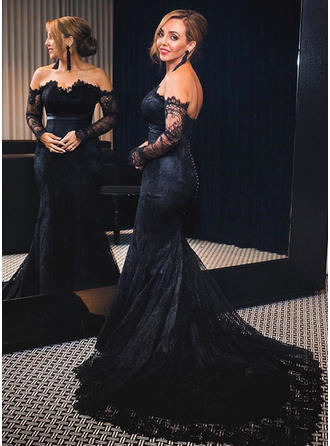 Magnificent Lace Evening Dresses Court Train Trumpet/Mermaid Long Sleeves Off-the-Shoulder