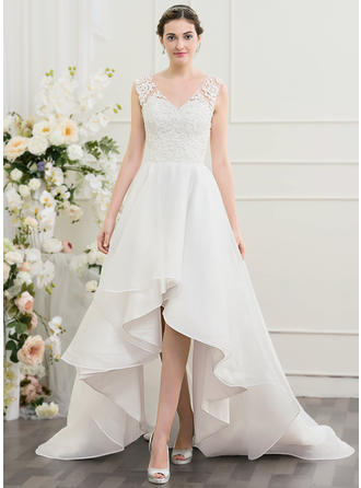 Asymmetrical A-Line/Princess Organza Beautiful Wedding Dresses Sleeveless