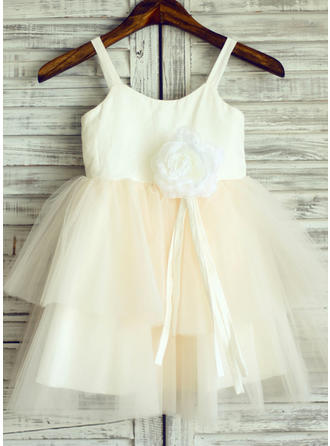 Modern A-Line/Princess Flower Girl Dresses Straps Cotton Sleeveless (010196740)