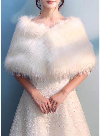 Wrap Bryllup Imiteret Pels Ivory Wraps & Bolerojakker