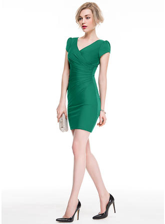 Chic Sheath/Column V-neck Jersey Cocktail Dresses