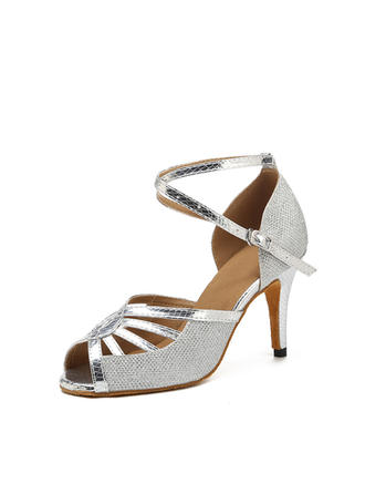 Women's Latin Heels Sandals Sparkling Glitter With Hollow-out Dance Shoes