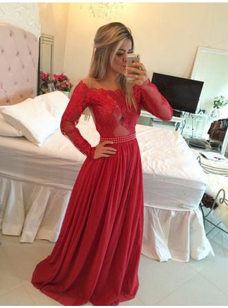 A-Line/Princess Off-the-Shoulder Chiffon Long Sleeves Sweep Train Evening Dresses