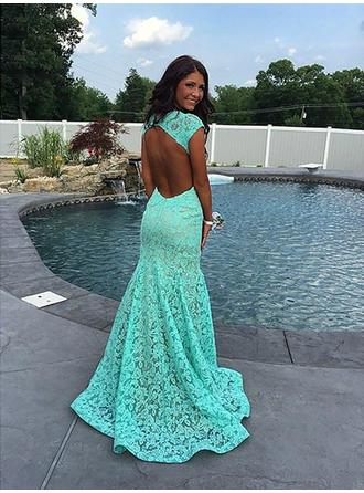 Trumpet/Mermaid V-neck Sweep Train Lace Evening Dresses