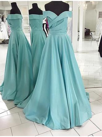 A-Line/Princess Sweep Train Off-the-Shoulder Satin Prom Dresses