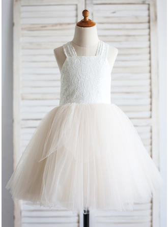 Straps A-Line/Princess Flower Girl Dresses Tulle/Cotton Bow(s) Sleeveless Knee-length