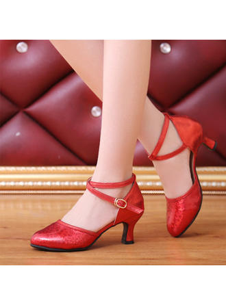 Women's Ballroom Swing Heels Leatherette With Buckle Sequin Dance Shoes