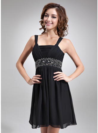 Empire Square Neckline Short/Mini Chiffon Homecoming Dresses With Ruffle Beading (022212906)