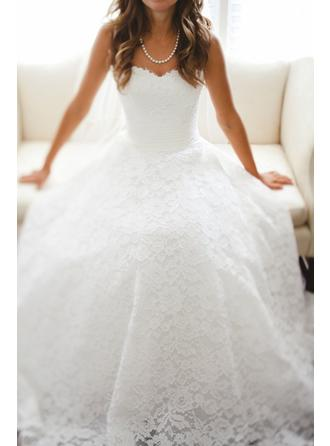 A-Line/Princess Sweetheart Cathedral Train Wedding Dress