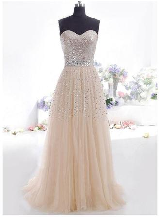 Tulle Sleeveless A-Line/Princess Prom Dresses Sweetheart Beading Sequins Floor-Length