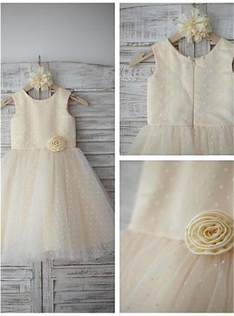 Scoop Neck A-Line/Princess Flower Girl Dresses Satin/Tulle Flower(s) Sleeveless Tea-length