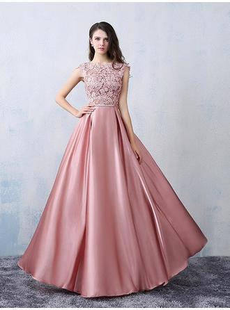 A-Line/Princess Scoop Neck Floor-Length Satin Prom Dress With Beading Bow(s)