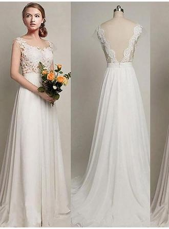 A-Line/Princess Scoop Sweep Train Wedding Dress With Sash (002210844)