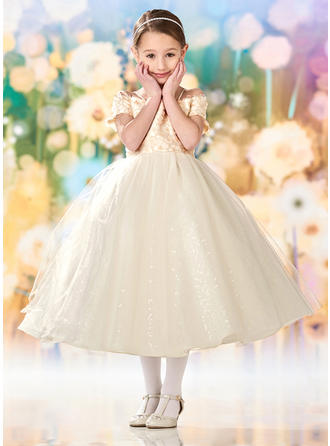 A-Line/Princess Square Neckline Tea-length Tulle/Lace Short Sleeves Flower Girl Dresses