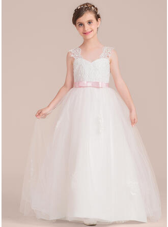Ball Gown Floor-length Flower Girl Dress - Satin/Tulle/Lace Sleeveless Sweetheart With Sash/Bow(s)