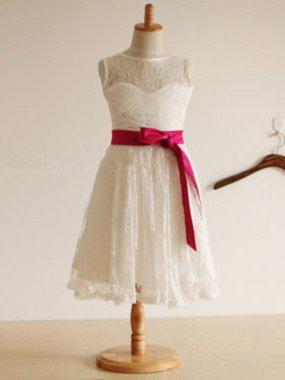 Beautiful A-Line/Princess Lace Flower Girl Dresses Tea-length Scoop Neck Sleeveless