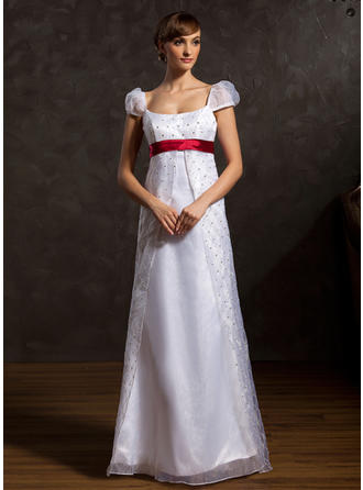 Beautiful Floor-Length A-Line/Princess Wedding Dresses Scoop Organza Sleeveless