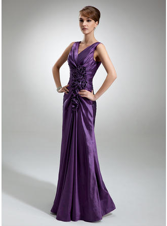 Sheath/Column Taffeta Sleeveless V-neck Floor-Length Zipper Up Mother of the Bride Dresses