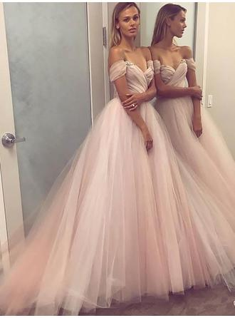Tulle Sleeveless A-Line/Princess Prom Dresses Off-the-Shoulder Beading Sequins Floor-Length