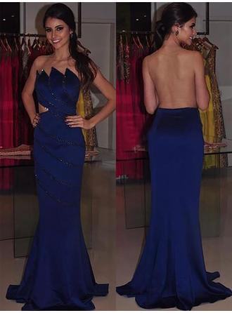 Trumpet/Mermaid Sweep Train Strapless Satin Prom Dresses