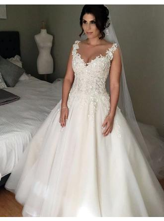 Ball-Gown Tulle Sleeveless V-neck Court Train Wedding Dresses