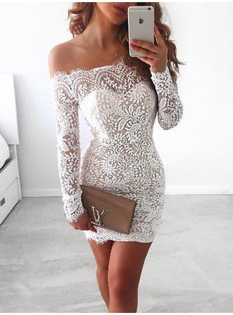 Sheath/Column Lace Cocktail Dresses Lace Off-the-Shoulder Long Sleeves Short/Mini