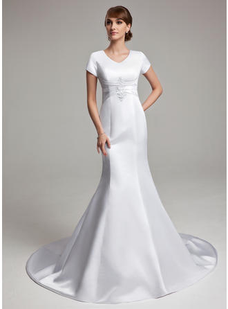 Satin Sleeves Chapel Train Chic Wedding Dresses