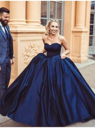 Ball-Gown Satin Prom Dresses Magnificent Floor-Length Sweetheart Sleeveless