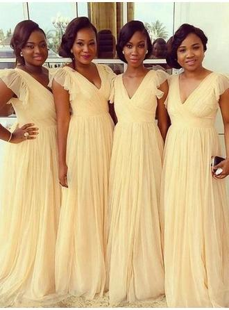 A-Line/Princess Chiffon Bridesmaid Dresses Cascading Ruffles V-neck Short Sleeves Floor-Length