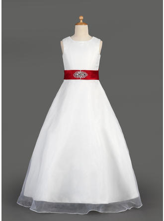 Newest Scoop Neck A-Line/Princess Organza/Satin Flower Girl Dresses