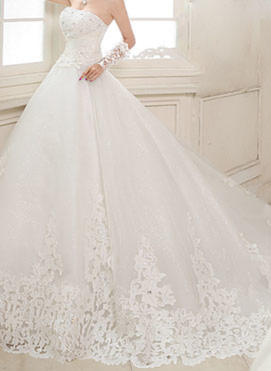 Ball-Gown Strapless Cathedral Train Wedding Dress With Beading Appliques Lace Sequins