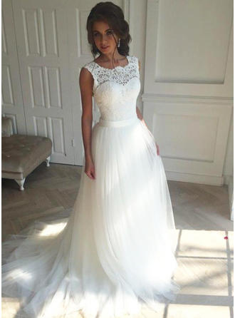 Flattering Court Train A-Line/Princess Wedding Dresses Square Tulle Sleeveless