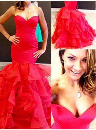 Trumpet/Mermaid Organza Prom Dresses Elegant Floor-Length Sweetheart Sleeveless