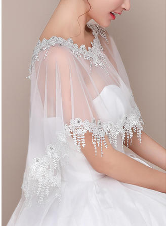 Wrap Wedding Lace Tulle Sleeveless With Lace Wraps (013125008)