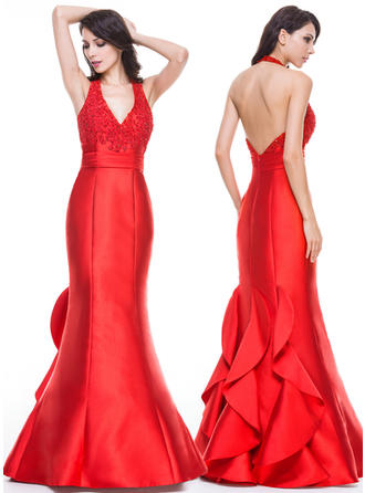 Trumpet/Mermaid Halter Satin Sleeveless Floor-Length Ruffle Beading Appliques Sequins Evening Dresses (017056520)